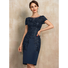 Sheath/Column Scoop Neck Knee-Length Satin Lace Mother of the Bride Dress With Sequins (008217310)