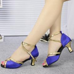 Femmes Satiné Sandales Latin avec Ouvertes Chaussures de danse