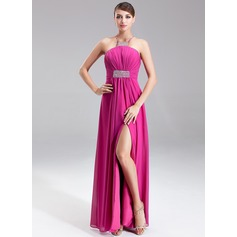 Empire Halter Floor-Length Chiffon Prom Dress With Ruffle Beading Split Front