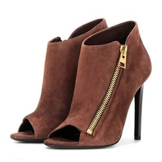 Women's Suede Stiletto Heel Pumps Peep Toe With Zipper shoes