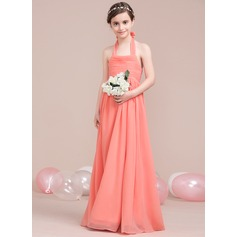A-Line Halter Floor-Length Chiffon Junior Bridesmaid Dress With Ruffle Bow(s)