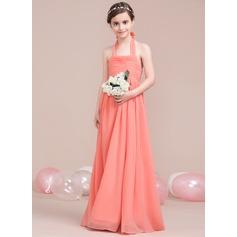 A-Linie Träger Bodenlang Chiffon Kleider für junge Brautjungfern mit Rüschen Schleife(n)