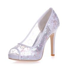Women's Lace Stiletto Heel Peep Toe Platform Sandals With Sequin