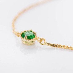 18k Gold Plated Statement Delicate Chain Bridal Bracelets Bridesmaid Bracelets With Cubic Zirconia -
