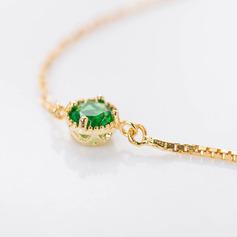 18k Verguld Uitspraak Fijne ketting Bruids armbanden Bruidsmeisje armbanden met Kubieke Zirkonia -