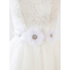 Elegante Satén Fajas con Flor/Diamantes de imitación