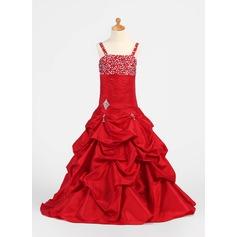 A-Line/Princess Floor-length Flower Girl Dress - Taffeta Sleeveless Straps With Ruffles/Beading/Pick Up Skirt