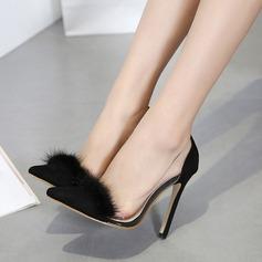 De mujer Ante Tacón stilettos Salón Cerrados con Piel zapatos