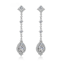Ladies' Exquisite Copper/Cubic Zirconia Cubic Zirconia Earrings For Bride (011233815)