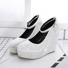 Frauen Wildleder Keil Absatz Sandalen Geschlossene Zehe Keile mit Schnalle Schuhe