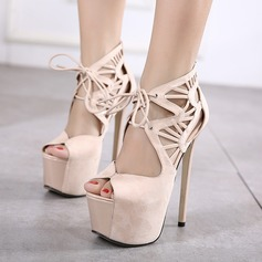 Women's Suede Stiletto Heel Sandals Pumps Peep Toe With Hollow-out shoes