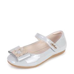 Fille de bout rond Bout fermé Mary Jane similicuir talon plat Chaussures de fille de fleur avec Bowknot Velcro Cristal