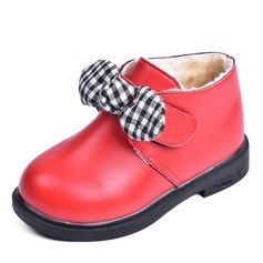 Mädchens Round Toe Geschlossene Zehe Leder Flache Schuhe Stiefel Blumenmädchen Schuhe mit Klettverschluss
