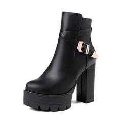 Frauen Kunstleder Stämmiger Absatz Absatzschuhe Plateauschuh Stiefel Stiefelette mit Schnalle Schuhe