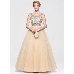 Ball-Gown Scoop Neck Floor-Length Tulle Prom Dress With Beading Sequins (018075968)