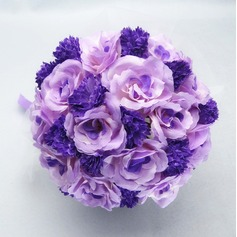 Romantic Round Satin/Cotton Bridal Bouquets -