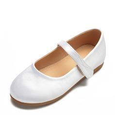 Fille de bout rond Bout fermé Satin talon plat Chaussures plates Chaussures de fille de fleur avec Velcro (207172974)