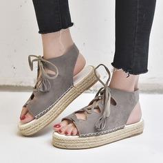 Naisten Mokkanahka Matalakorkoiset Heel Sandaalit kengät