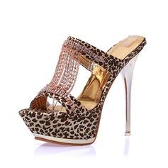 Женщины Ткань Высокий тонкий каблук Сандалии Платформа Тапочки обувь