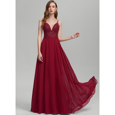 Corte A Decote V Longos Tecido de seda Vestido de baile com lantejoulas