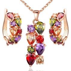 Luminoso Zircon Cobre Mulheres Conjuntos de jóias