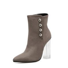 Frauen Veloursleder Stämmiger Absatz Absatzschuhe Stiefelette mit Reißverschluss Knopf Schuhe