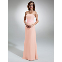 Sheath/Column Strapless Floor-Length Chiffon Bridesmaid Dress With Ruffle