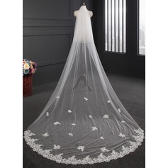 Two-tier Lace Applique Edge Cathedral Bridal Veils With Lace (006114045)