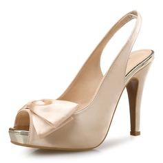 De mujer Satén Tacón stilettos Sandalias Salón Encaje Solo correa con Bowknot zapatos