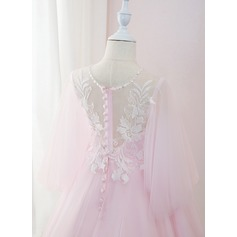 De Baile/Princesa Sweep/Brush trem Vestidos de Menina das Flores - Tule/Renda Manga 3/4 Decote redondo com Beading/Pena/lantejoulas