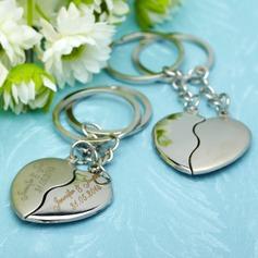Personlig Krama Hjärtan Rostfritt Stål Nyckelringar (Set av 4 Pairs)