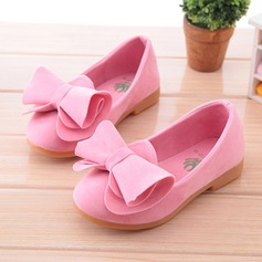 Girl's Round Toe Closed Toe Suede Flat Heel Flats Flower Girl Shoes With Bowknot