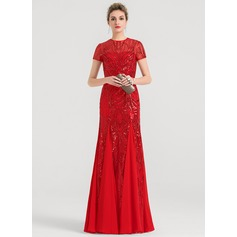 A-Line/Princess Scoop Neck Floor-Length Chiffon Evening Dress (017147965)
