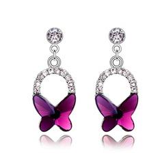 Fjärilsformade Legering Kristall Damer' Mode örhängen