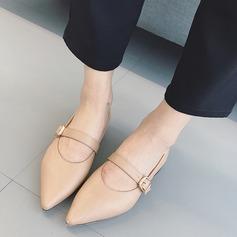 Женщины PU Плоский каблук На плокой подошве Закрытый мыс с пряжка обувь