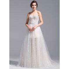 Vestidos princesa/ Formato A Coração Curto/Mini Destacável Tule Renda Vestido de noiva