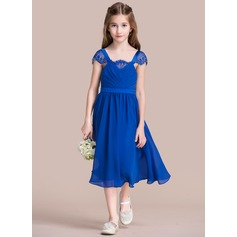 A-Line/Princess Square Neckline Tea-Length Chiffon Junior Bridesmaid Dress With Ruffle Lace