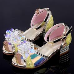 tytön Peep toe tekonahka Low Heel Sandaalit Flower Girl Kengät jossa Solki Kukka Kristalli