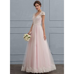 Ball-Gown V-neck Floor-Length Tulle Wedding Dress With Beading Sequins