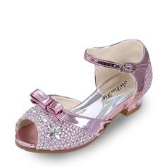 Pigens Kigge Tå Leatherette lav Hæl sandaler Pumps Flower Girl Shoes med Bowknot Spænde Rhinsten (207126984)