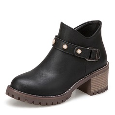 Women's Leatherette Chunky Heel Platform Boots Ankle Boots With Imitation Pearl Buckle shoes