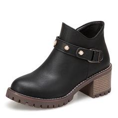 Kvinder Kunstlæder Stor Hæl Platform Støvler Ankelstøvler med Imiteret Pearl Spænde sko