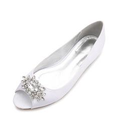 Frauen Seide wie Satin Flascher Absatz Flache Schuhe Peep-Toe mit Schnalle