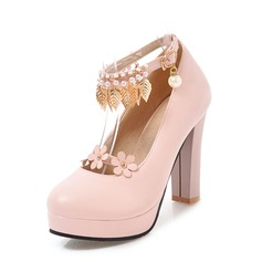 De mujer PVC Tacón ancho Salón Plataforma con Cadena Borla Flor zapatos