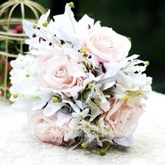 Gracioso Forma livre Cetim Buquês de noiva -