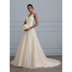 Ball-Gown V-neck Court Train Tulle Wedding Dress (002121429)