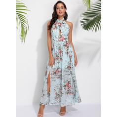 Floral Print Halter Sleeveless Maxi Dresses (293237718)