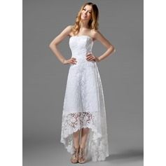 A-Line Strapless Asymmetrical Lace Wedding Dress With Beading (002000226)