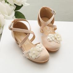 Mädchens Geschlossene Zehe Satin Blumenmädchen Schuhe mit Blume