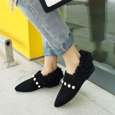 Vrouwen Suede Flat Heel Flats Closed Toe met Imitatie Parel schoenen
